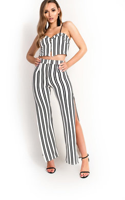 View the Bilson Striped Zip Wide Leg Co-ord online at iKrush