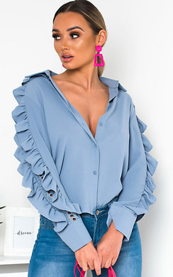 View the Blaine Frilled Crochet Blouse  online at iKrush