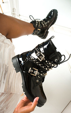 View the Blake Buckle Studded Biker Boots  online at iKrush