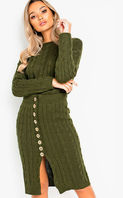View the Blake Cable Knit Button Up Co-ord online at iKrush