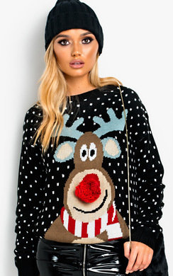 View the Cupid Pom Pom Reindeer Christmas Jumper online at iKrush