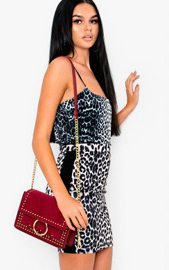 View the Bobbi Faux Suede Gold Chain Shoulder Bag online at iKrush
