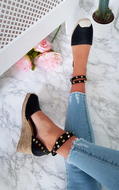 View the Bonnie Studded Espadrille Wedge Sandal online at iKrush