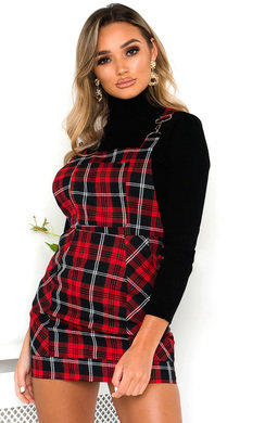 View the Bonnie Tartan Pinafore Mini Dress online at iKrush