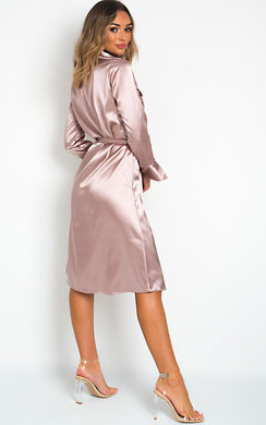 View the Brielle Satin Tie Waist Dress online at iKrush