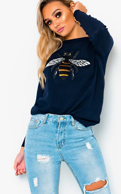 View the Brit Bee Embellished Crew Jumper  online at iKrush