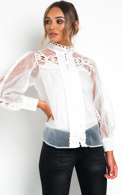 View the Brogan Sheer Crochet Blouse  online at iKrush
