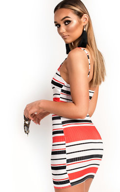 View the Brogan Stripe Bodycon Dress online at iKrush