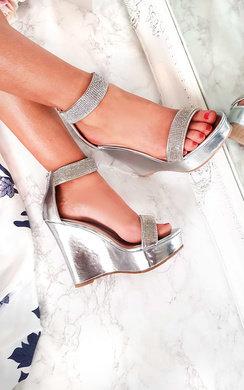 View the Brooklyn Diamante Peep Toe Wedges  online at iKrush