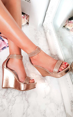 View the Brooklyn Diamante Peep Toe Wedges  online at iKrush