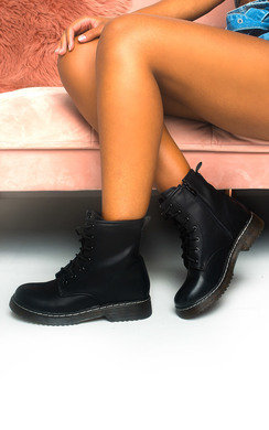 View the Cadence Lace Up Biker Boots online at iKrush