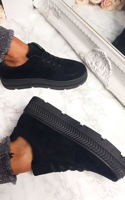View the Cady Faux Suede Platform Trainers online at iKrush