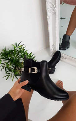 View the Caley Buckle Faux Leather Ankle Boots online at iKrush