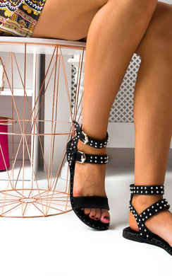 View the Callie Double Buckle Studded Sandals  online at iKrush