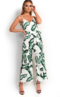 View the Camille Tropical Wide Leg Jumpsuit online at iKrush
