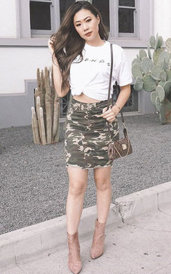 View the Candice Camo Denim Frayed Skirt online at iKrush