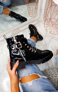 View the Candice Patent Buckle Biker Boots online at iKrush