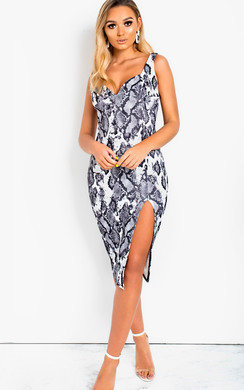 View the Cara Bodycon Printed Midi Dress online at iKrush