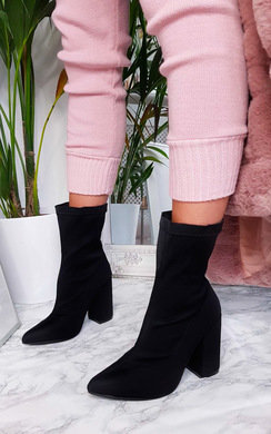 View the Cara Lycra Block Heeled Ankle Boots online at iKrush