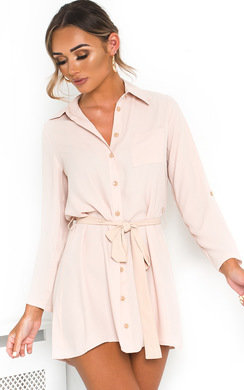 View the Cara Tie Waist Shirt Dress online at iKrush
