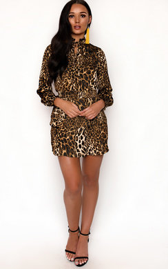 View the Carley Leopard Print Frill Dress online at iKrush
