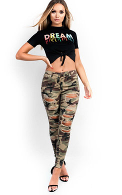 View the Carmel Skinny Camouflage High-Rise Ripped Jeans online at iKrush