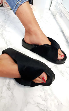 View the Carmille Bow Velvet Sliders online at iKrush