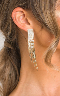 View the Caro Statement Tassel Diamante Earrings  online at iKrush