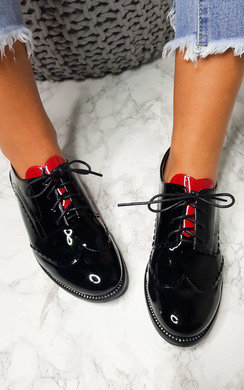 View the Carolina Patent Brogue Flats online at iKrush