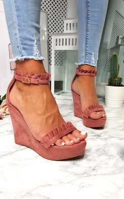 View the Casey Faux Suede Frill Wedges online at iKrush