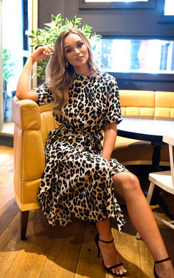View the Cassandra Printed Frill Midi Dress online at iKrush