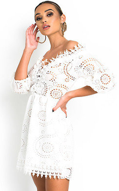 View the Cassia Lace Up Crochet Dress online at iKrush