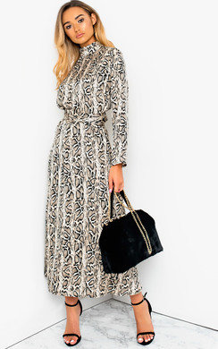 View the Cassie Printed Belted Maxi Dress online at iKrush