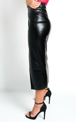 View the Cati Belted PU Split Skirt  online at iKrush