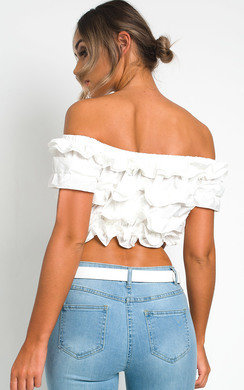 View the Cece Off Shoulder Ruffle Crop Top online at iKrush