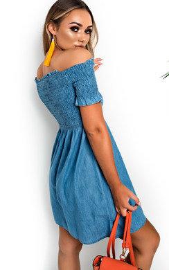 View the Celeste Off Shoulder Denim Dress online at iKrush