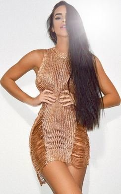 View the Celina Metallic Knit Dress online at iKrush