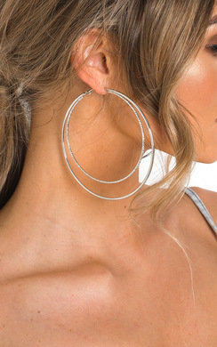 View the Celine Double Circle Oversized Hoop Earrings  online at iKrush