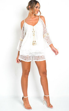 View the Celine Lace Embellished Top & Shorts Co-Ord  online at iKrush