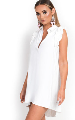 View the Cerys Frill Shirt Dress online at iKrush