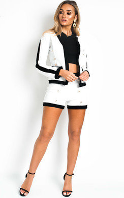 View the Charlene Button Detail Jacket and Shorts Co-Ord  online at iKrush