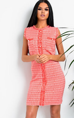 View the Charley Frayed Button Up Knit Dress online at iKrush