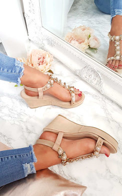 View the Charlotte Embellished T-Bar  Wedges online at iKrush