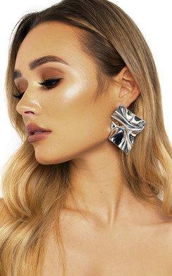 View the Charlotte Metallic Shine Statement Earrings  online at iKrush