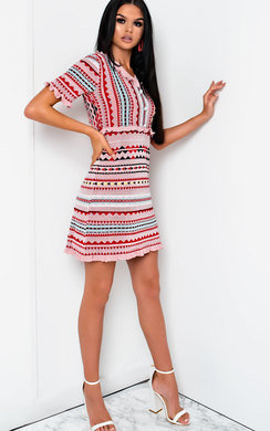 View the Cheryl Aztec Frill Button Up Dress online at iKrush