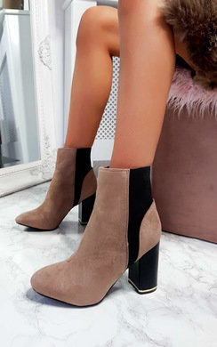 View the Cheryl Faux Suede Heeled Ankle Boots online at iKrush