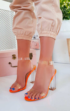 View the Chlo Barely There Clear Block Heels online at iKrush