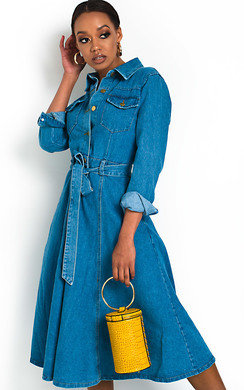 View the Chrissy Button Up Denim Dress online at iKrush