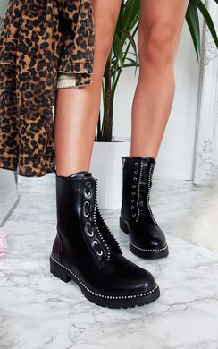 View the Christie Lace Up Biker Boots online at iKrush