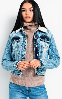 View the Ciara Acid Wash Shearling Denim Jacket online at iKrush